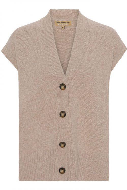Camel yak/ull ribbet oversized vest med knapper Dear Dharma - lei vest