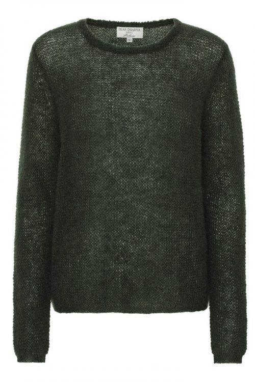 Hunter green, blå, brun, sort eller bladgrønt mohairmix basic genser Dear Dharma - new maddy