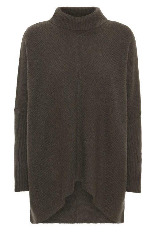 Hunter green cashmere/ull a-shaped ribbestrikket poncho/pologenser med buet avslutning i front Dear Dharma - noni