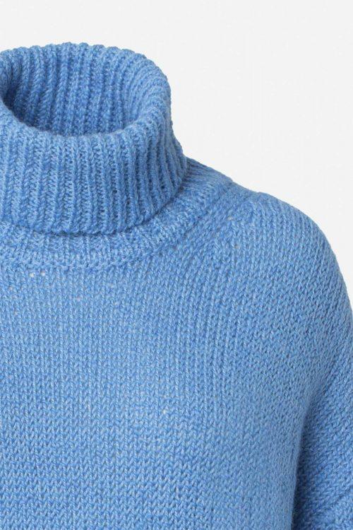 Covert green eller lighten blue alpakkamix oversized pologenser Samsøe - 14077 molly t-neck