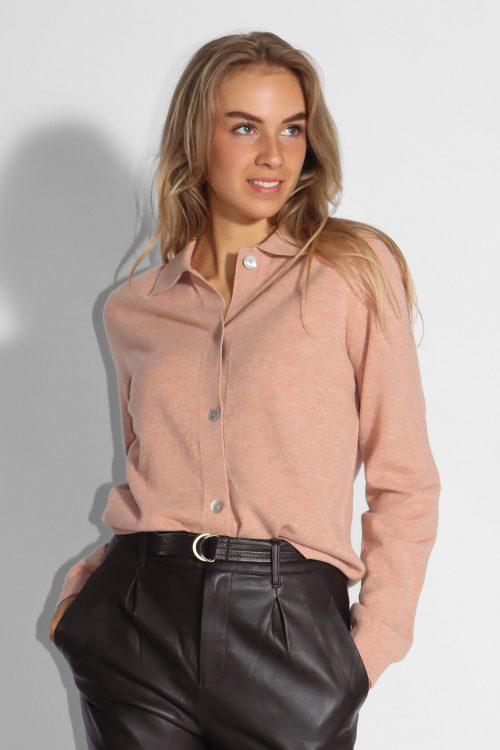Warm grey eller mahogany rose 100% ull skjortecardigan Samsøe - 14001 amarit cardigan