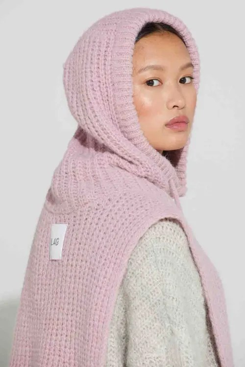 Light grey eller soft pink alpakka ribbet hals med hette Ilag - eidfjord neckwarmer
