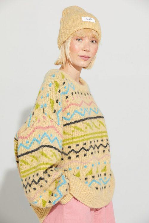 Yellow mellow vendbar genser med Hardangersøm Ilag - nipa