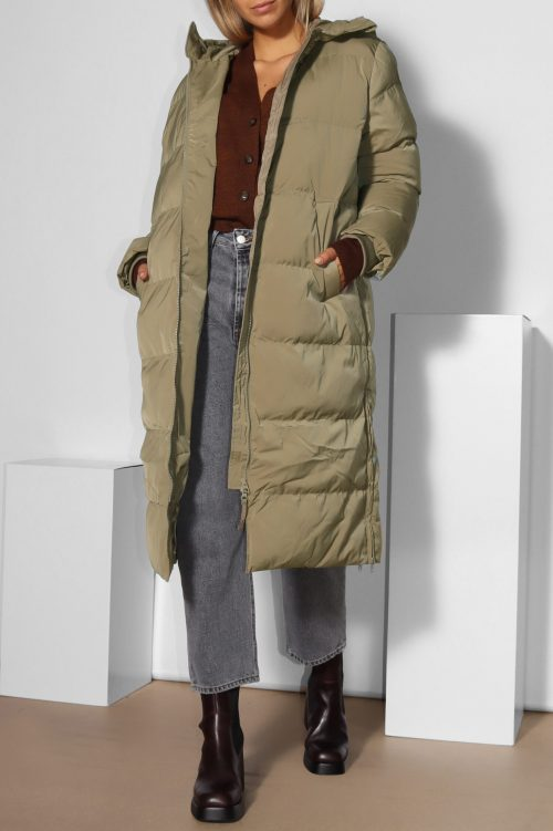 Covert green basic boblekåpe med hette Samsøe - 12891 sera coat