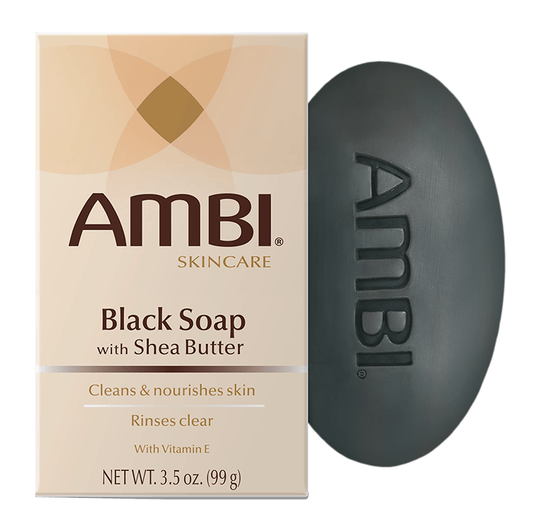 Ambi Black Soap Bar with Shea Butter gently cleanses your skin and pores treat oil and acne