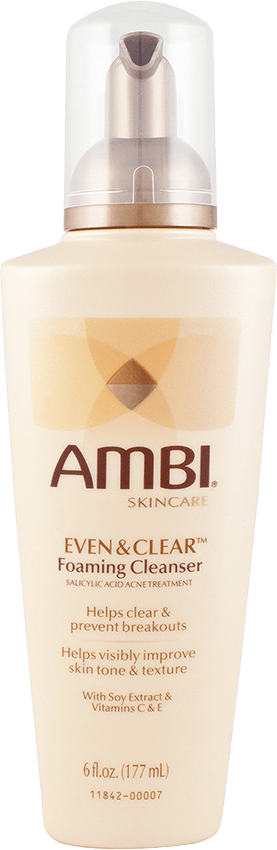 AMBI® Even & Clear® Foaming Cleanser is specifically formulated with salicylic acid, a proven acne treatment