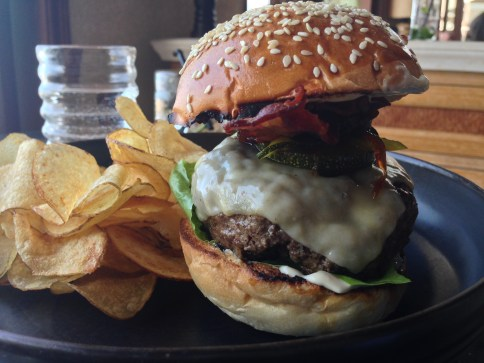 Wagyu Beef Burger | bacon, emmental cheese, pickled zucchini, relish