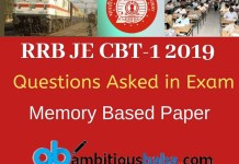 Questions Asked in RRB JE Exam