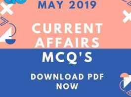 Current Affairs 2019 Mcq's pdf