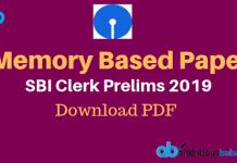 SBI Clerk pre memory based paper 2019