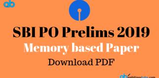SBI PO PRE memory based paper 2019