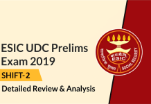 ESIC UDC Prelims Exam 2019 Shift-2 - Detailed Review And Analysis