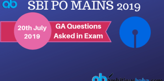 GA Questions asked in sbi po mains 2019