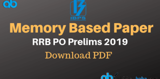 RRB PO PRE 2019 Memory Based Paper