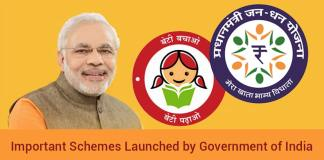Schemes Launched by Government of India 2019