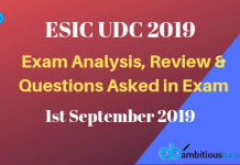 ESIC UDC Exam Analysis and Review 2019