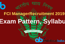 FCI Manager exam pattern and syllabus