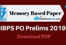 IBPS PO Prelims 2019 Memory Based Paper
