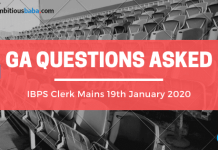 GA Questions asked in IBPS Clerk Mains 2019