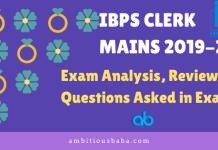 IBPS CLERK MAINS 2019-20