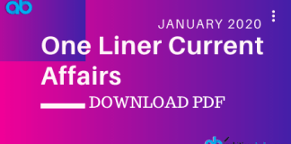 One Liner Current Affairs January 2020 Blog
