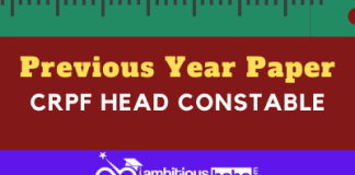 CRPF Head Constable Previous Year Paper