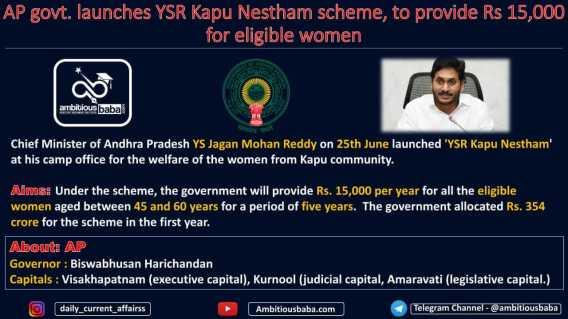 AP govt. launches YSR Kapu Nestham scheme, to provide Rs 15,000 for eligible women