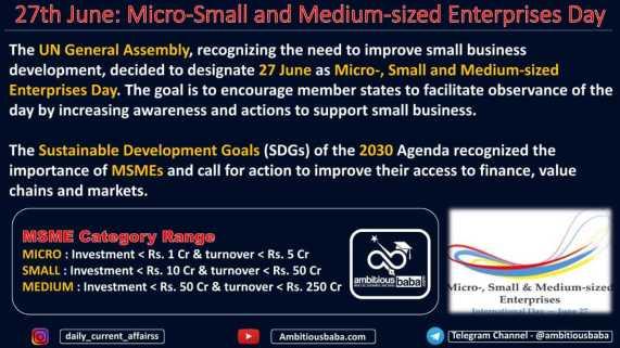 27th June: Micro-Small and Medium-sized Enterprises Day
