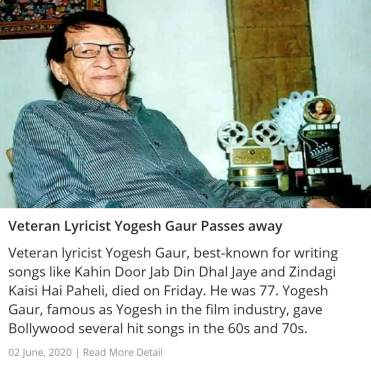 Veteran Lyricist Yogesh Gaur Passes away