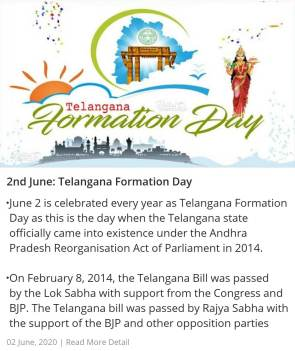 2nd June: Telangana Formation Day