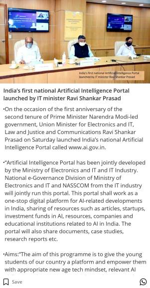 India's first national Artificial Intelligence Portal launched by IT minister Ravi Shankar Prasad