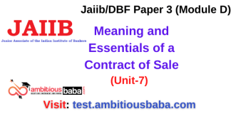 Meaning and Essentials of a Contract of Sale: Jaiib/DBF Paper 3 (Module D)