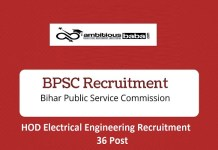 BPSC for HOD Electrical Engineering Recruitment 2020 : 36 Post check here
