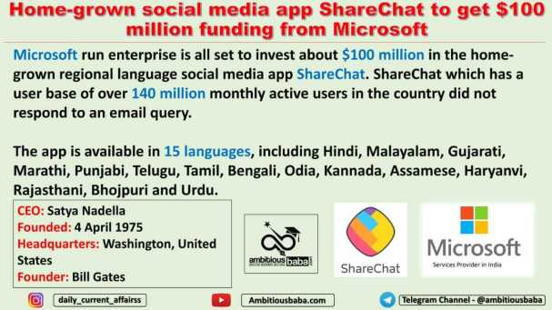 Home-grown social media app ShareChat to get $100 million funding from Microsoft