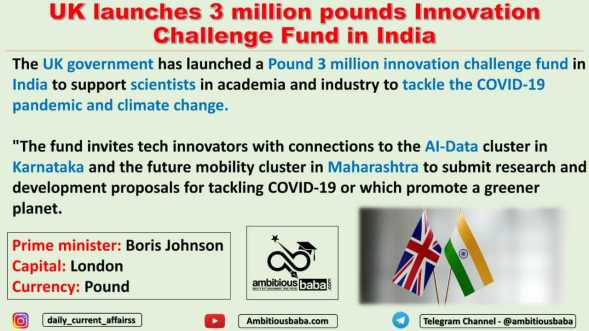 UK launches 3 million pounds Innovation Challenge Fund in India