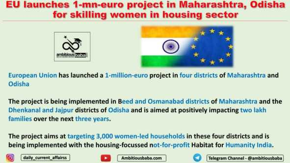 EU launches 1-mn-euro project in Maharashtra, Odisha for skilling women in housing sector