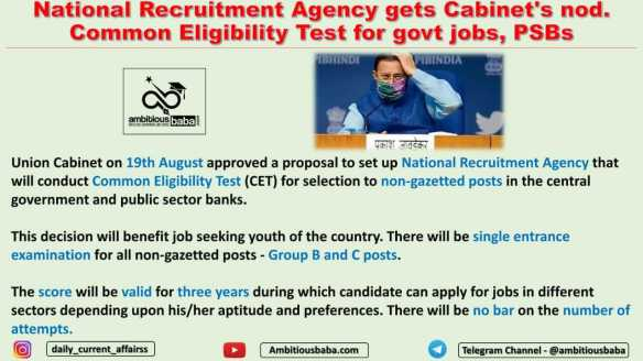 National Recruitment Agency gets Cabinet's nod. Common Eligibility Test for govt jobs, PSBs
