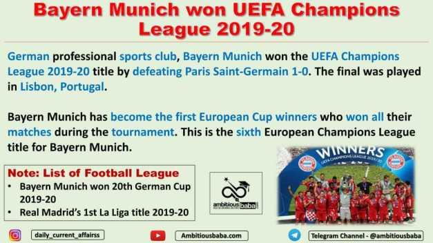 Bayern Munich won UEFA Champions League 2019-20
