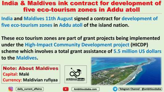 India & Maldives ink contract for development of five eco-tourism zones in Addu atoll