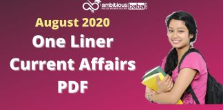 One liner Current affairs August 2020
