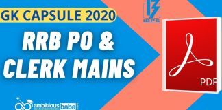 GK Capsule for RRB PO & Clerk Mains 2020