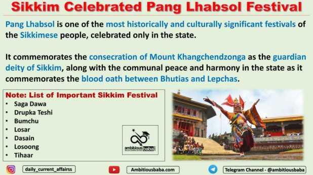 Sikkim Celebrated Pang Lhabsol Festival