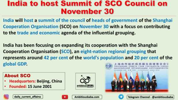 India to host Summit of SCO Council on November 30