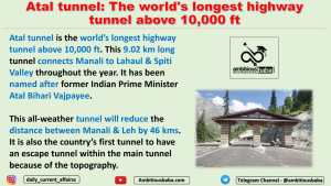 Atal tunnel: The world's longest highway tunnel above 10,000 ft