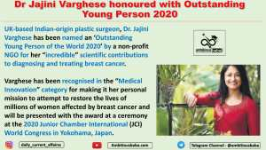 Dr Jajini Varghese honoured with Outstanding Young Person 2020