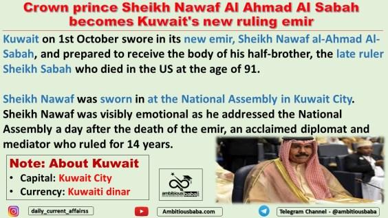 Crown prince Sheikh Nawaf Al Ahmad Al Sabah becomes Kuwait's new ruling emir