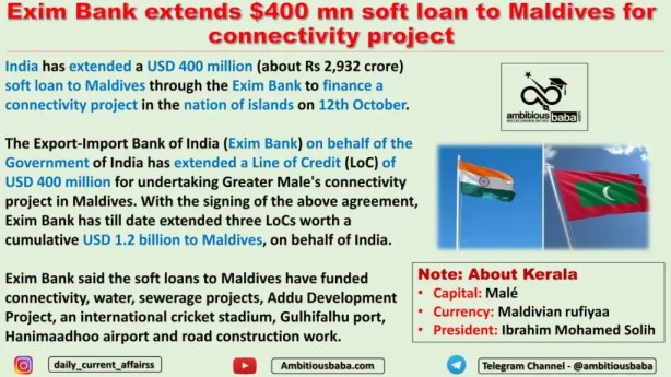 Exim Bank extends $400 mn soft loan to Maldives for connectivity project