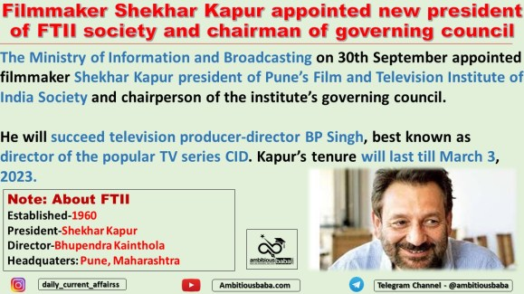 Filmmaker Shekhar Kapur appointed new president of FTII society and chairman of governing council