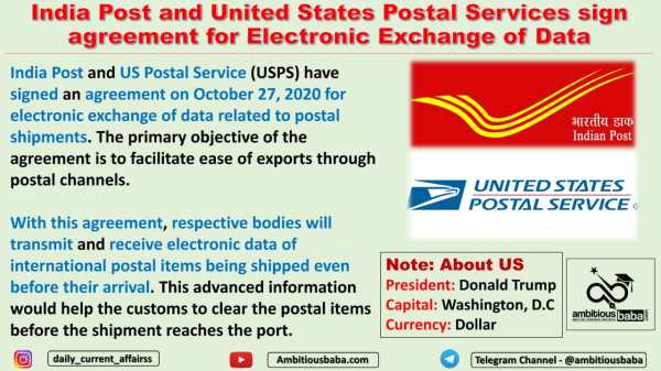 India Post and United States Postal Services sign agreement for Electronic Exchange of Data