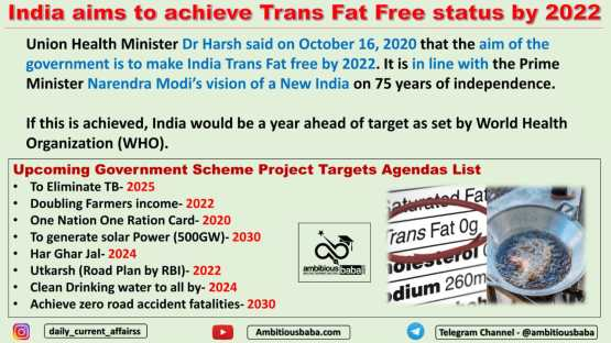 India aims to achieve Trans Fat Free status by 2022